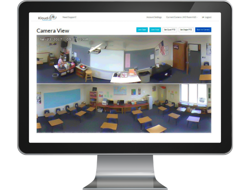 classroom video recording on desktop